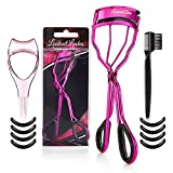 Lookout Lashes Eyelash Curler Bundle with Mascara Guard, Eyebrow Brush & Refill Curling Pads