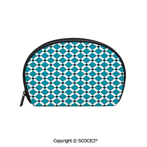 (SCOCICI Durable Printed Makeup Bag Storage Bag Diagonal Check Classical Pattern Intersecting Lines Rhombus Grid Geometric Design Decorative for Women Girl Student )