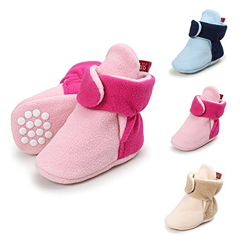 LIVEBOX Baby Booties Newborn Cozy Furry Lined Fleece Booties with Grippers Non Skid for Infant Girls Boys(M: 4.72 inches,Pink/hot Pink)