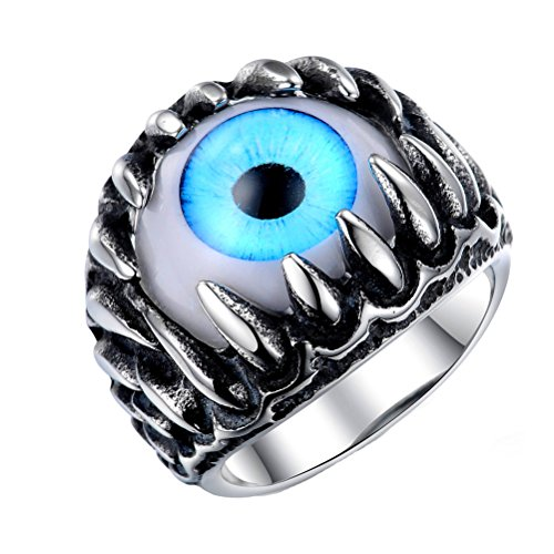 PAURO Men's Stainless Steel Dragon Claw Evil Devil Skull Eyeball Ring Gothic Biker Unique Blue Eyes Size 9 ()