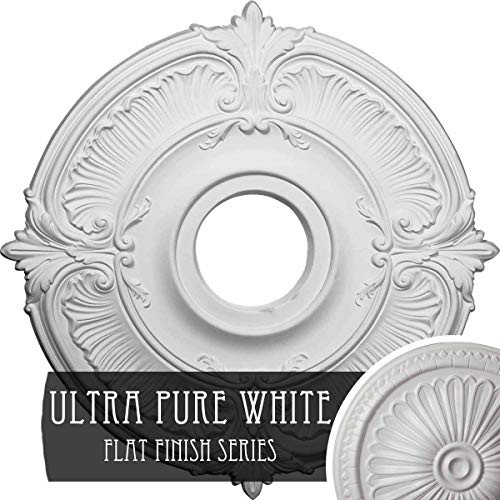 """18""""OD x 4""""ID x 5/8""""P Attica Ceiling Medallion (Fits Canopies up to 5""""), Hand-Painted Ultra Pure White"""