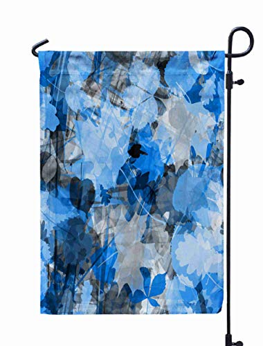 - GROOTEY Welcome Outdoor Garden Flag Home Yard Decorative 12X18 Inches Blue Floral Background Stripes Leaves Abstract Pattern Watercolor Effect Transparency Overlay Double Sided Seasonal Garden Flags