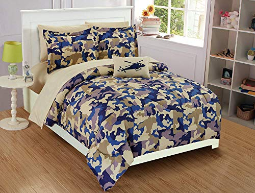 Mk Collection 6pc Twin Comforter Set with Decorative Pillow Camouflage Army Beige Blue Taupe Off White ()