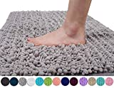 Original Luxury Chenille Bath Mat, Soft Shaggy and Comfortable, Large Size, Super Absorbent and Thick, Non-Slip, Machine Washable, Perfect for Bathroom (31.5 X 19.8 Inches, Gray)