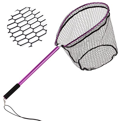 shing Landing Nets, Ultra Lightweight 8-13/16 oz with Aluminum Handle and Frame, Rubber Coating Catch and Release Net 14 X 17-Inch ()