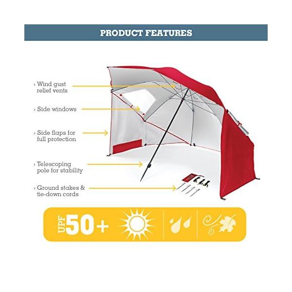 51 SMHuQ1fL Sport-Brella Umbrella Sonnenschirm für Strand und Garten, Robust, Schutz vor Sonne, Regen und Wind, Mit Tragetasche…