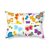 NICEPLW The Butterfly cushion covers of ,20 x 30 inches / 50 by 75 cm decoration,gift for kids girls,couch,lover,wife,bar seat,birthday (twin sides)