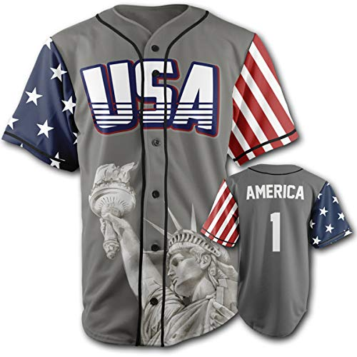 Greater Half Custom Baseball Jersey Button Down USA Grey America #1, XXX-Large