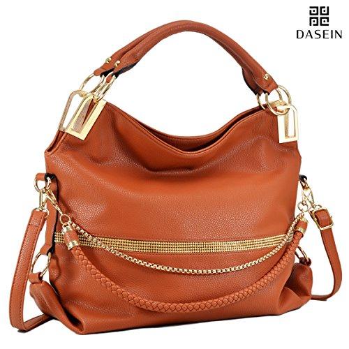 Dasein Women's Classic Rhinestone Detail Large Hobo Bag Top Handle Purse Shoulder Bag w/ Shoulder Strap (5-7350 Brown)
