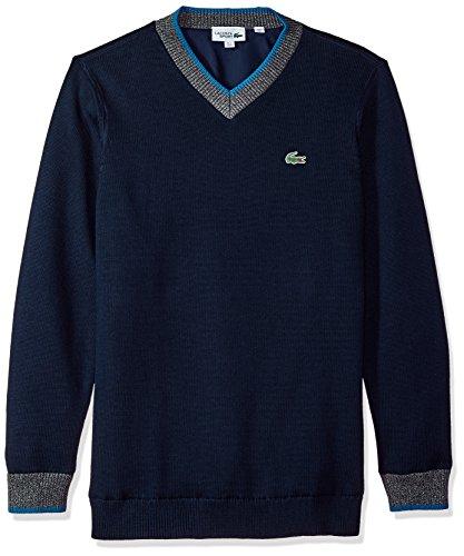 Lacoste Sweater Dress - Lacoste Men's Long Sleeve V Neck & Rib Knit Detail Sweater, Navy Blue/Medway-White, 6