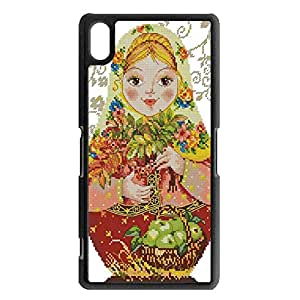 Matryoshka Doll Sony Xperia Z2 Phone Case Cover,Exquisite Cross Stitch Exquisite Matryoshka Doll Case Cover Tough PC Protector Shell for Sony Xperia Z2