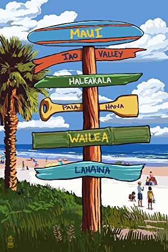 Maui, Hawaii - Destinations Sign (24x36 SIGNED Print Master Giclee Print w/ Certificate of Authenticity - Wall Decor Travel Poster) by Lantern Press