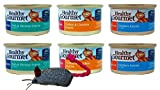 Blue Buffalo Healthy Gourmet Natural Food for Cats 3 Flavor Variety 6 Can with Toy Bundle, 2 each: Flaked Fish & Shrimp, Turkey & Chicken Pate, Grilled Chicken (3 Ounces - 6 cans total)