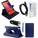 Sheath ™ Leather 360 Rotating Case Cover for Samsung Galaxy Tab Pro 8.4 Case SM-T320/T325/T321 With Multi Stand feature with Screen Protector, Stylus, cable and Car Carger Adapter Accessories Bundle for samsung galaxy tab Pro 8.4 case (Navy blue)