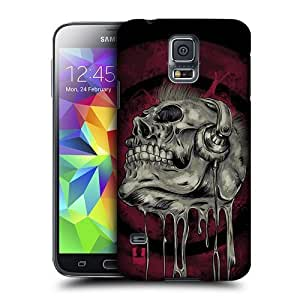 AIYAYA Samsung Case Designs Music Head Skull of Rock Protective Snap-on Hard Back Case Cover for Samsung Galaxy S5
