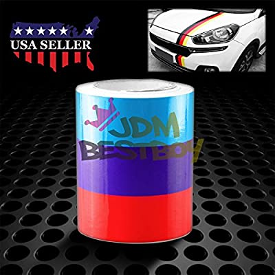 "JDMBESTBOY 3""x59"" M Racing Stripe Car Sticker Decal For BMW M Performance Exterior Hood Roof Bumpers"