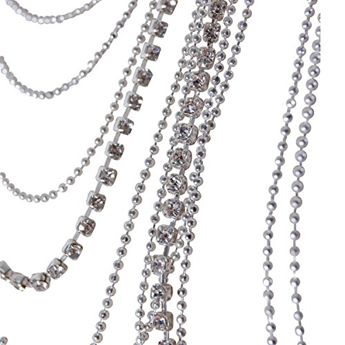 Humble Chic Waterfall Jewel Long Necklace Multi-Strand Statement CZ Rhinestone Chains, Silver-Tone by Humble Chic NY (Image #2)