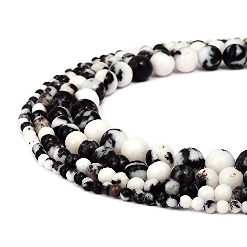 RUBYCA Natural Black White Zebra Jasper Gemstone Round Loose Beads Jewelry Making 1 Strand - 4mm
