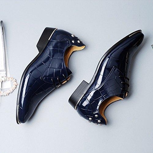 2018 Chaussures en Cuir PU Lisse pour Hommes Classique à Lacets Texture Carrée Formelle Doublée Oxfords Richelieus Homme (Color : Marine, Taille : 46 EU)