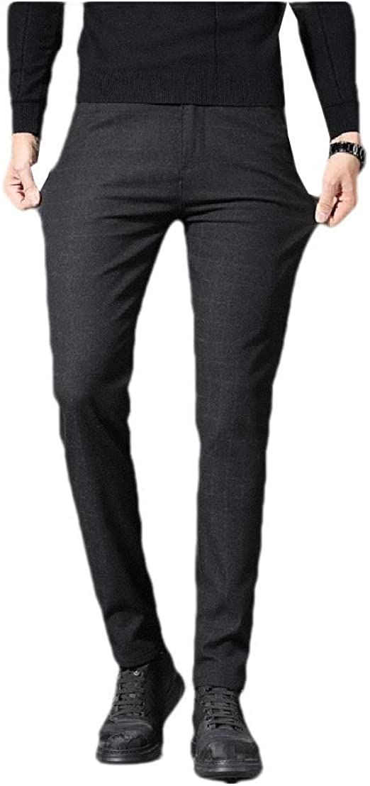 YAXINHE Men Fitted Color Block Plaid Plus Size Pocketed Stretchy Plain-Front Pant
