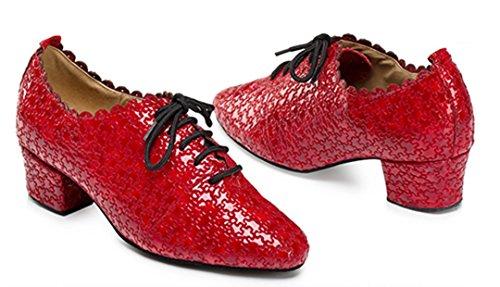 Tda Kvinna Låg Klack Spets-up Blommor Salsa Tango Balsal Latin Dansskor Röd
