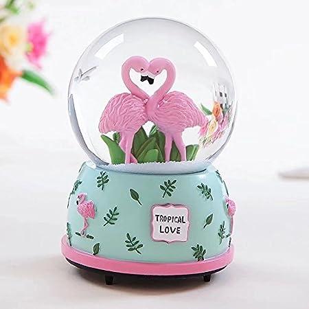 Flamenco musical bola de cristal de bolas de nieve (100 mm) cajas de música con cambio de color LED luz el mejor regalo para el día de San Valentín: Amazon.es: Hogar