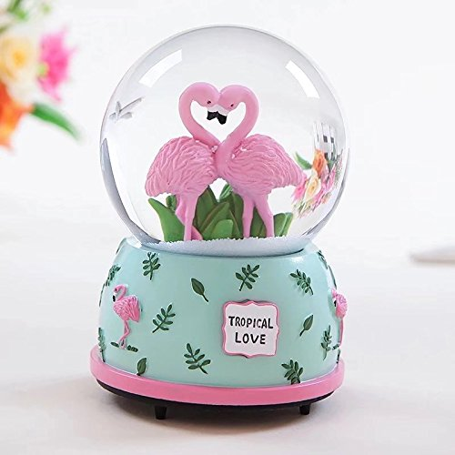 Qisheng Flamingo Musical Snow Globes(100mm Glass Ball) Music Boxes with Color Change Led Light The Best Gift for Valentine's -
