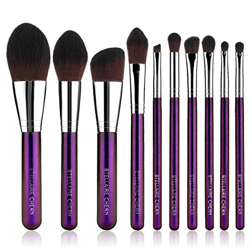 Stellaire Chern Makeup brush set, 10 Pcs Premium Synthetic Cosmetic Brushes, Foundation Blending Blush Powder Eye Shadow Make Up Brushes Kit - Purple