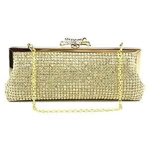 Vioaplem Women's Fashion Sparkly Rhinestone Mini Clutch Bag Wristlet Evening Handbag Catching Purse Bag for Wedding Party (Color : Golden)