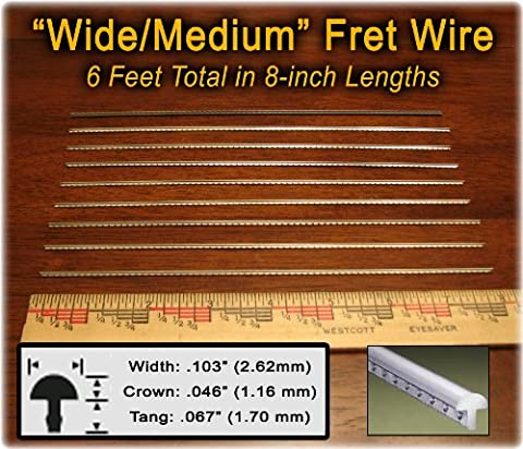 Fret Wire for Electric and Bass Guitars - Wide/Medium Size - Six Feet - Bass Fret Wire