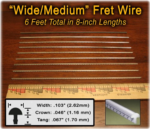 Fret Wire for Electric and Bass Guitars – Wide/Medium Size – Six Feet