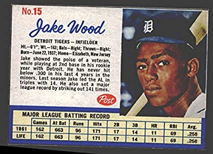 1962 Post Cereal Baseball Card 15 Jake Wood Of The Detroit Tigers