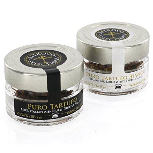 [Truffle Mushroom Slices - 100% Italian Air-Dried Gourmet Black Truffles and White Truffles - Set of 2 (0.1oz Jars)] (Italian Mushroom Truffles)
