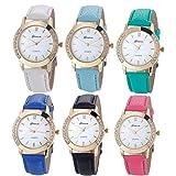 YANG-YI Geneva Fashion Diamond Analog Leather Quartz Round Wrist Watch Women