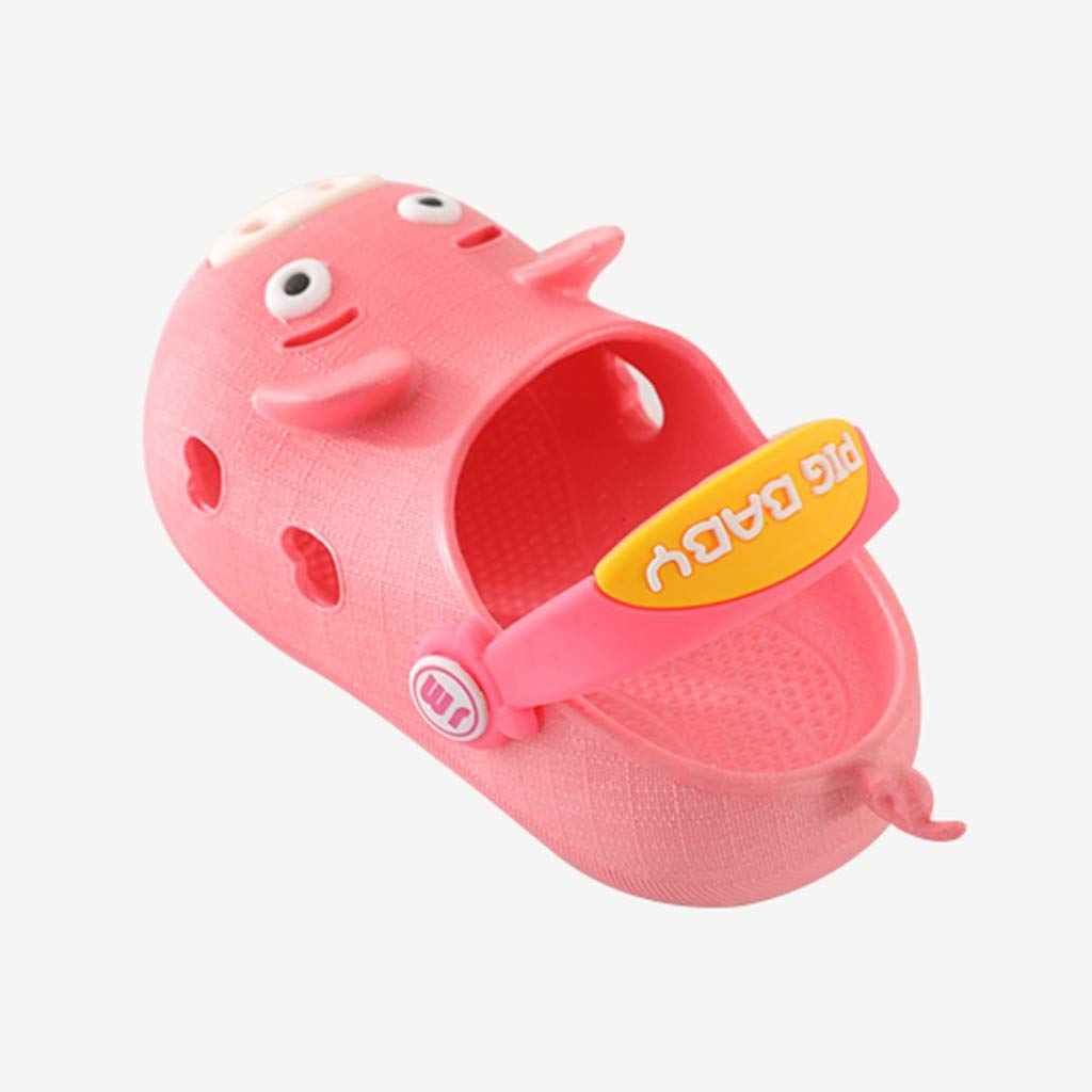 Franterd Baby Sandals Novelty Pig Baby Sandals Kids Little Girls Hollow Out Shoes with Back Sling Beach Slippers Flip Shoes