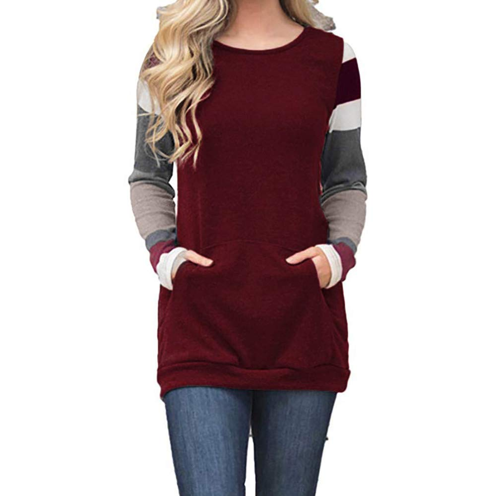 CUTUDE Women's Color Block Long Sleeve Tunic Sweatshirt Tops Kangaroo Pocket Blouse Autumn Winter Outerwear Causal Jacket Coat Fashion 2018