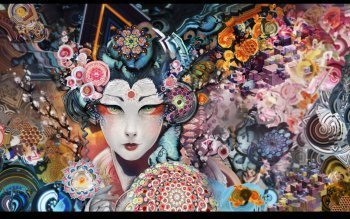 EBlank 5D Diamond Painting Full Drill Colorful Geisha Woman DIY Diamond Paint by Kit for Home Wall ()