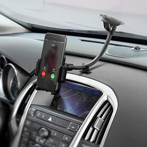 Mpow Cell Phone Holder for Car, Windshield Long Arm Car Phone Mount with One Button Design and Anti-skid Base Car Holder for iPhone X/8/7/7P/6s/6P/5S,Galaxy S5/S6/S7/S8,Google,LG,Huawei