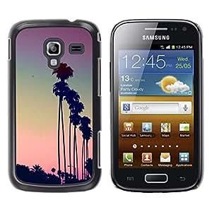 YOYOYO Smartphone Protección Defender Duro Negro Funda Imagen Diseño Carcasa Tapa Case Skin Cover Para Samsung Galaxy Ace 2 I8160 Ace II X S7560M - Los Angeles LA púrpura puesta de sol palmeras