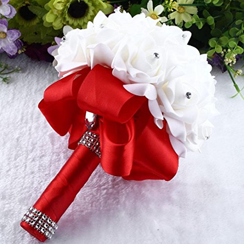 Mikey Store Bridal Artificial Silk Flowers Crystal Roses Pearl Bridesmaid Wedding Bouquet (Red)