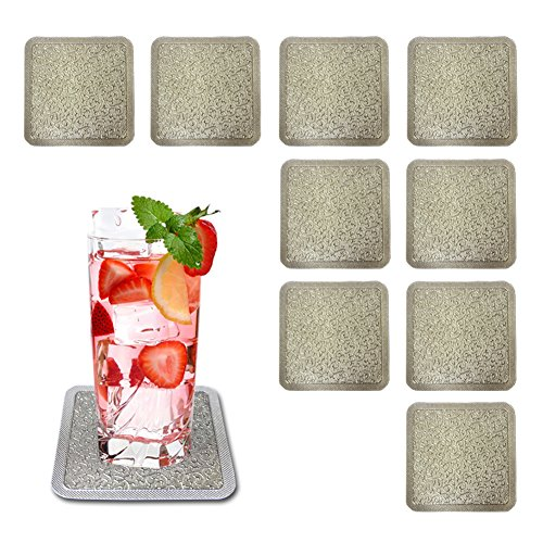 Premium PVC Drink Coasters,TwoS Lithophane Print (gold and silver) Drinking Coasters, Set of 10, waterproof,Oil proof,High temperature resistance,Type A5