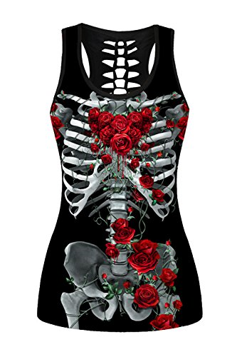 Lady Queen Women's Skeleton Rose Print Hollow Back