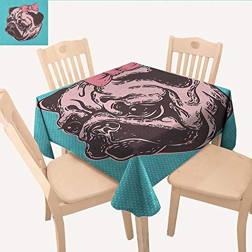 longbuyer Pug Christmas Tablecloth Blue Background with The Cute Pug and Its Pink Buckle Adorable Animal Design Pet Print Table Cloths Spill Proof Blue Pink W 36
