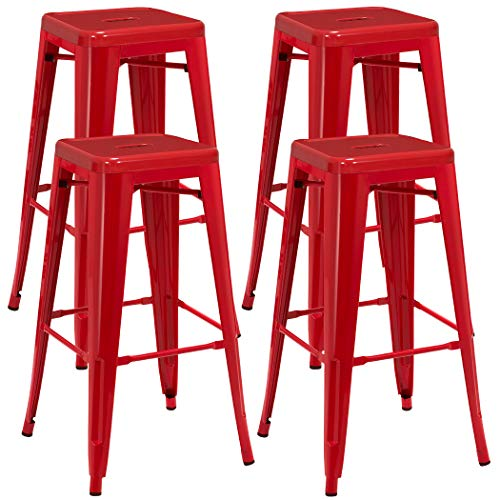 Backless Industrial Design Metal Iron Stools 30 Set of 4 Duhome WY-665D Metal Bar Stool Red