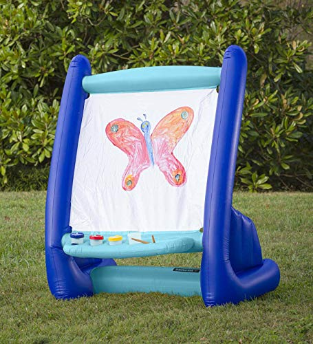 HearthSong Kid's Inflatable Art Easel with 4 Paints, 4 Sponges, 1 Paint Brush - Easy Clean - Indoor or Outdoor Use - Approx. 39 W x 27 D x 50 H