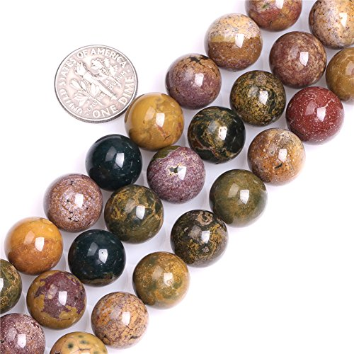 Ocean Jasper Beads for Jewelry Making Natural Semi Precious Gemstone 12mm Round Yellow Strand 15