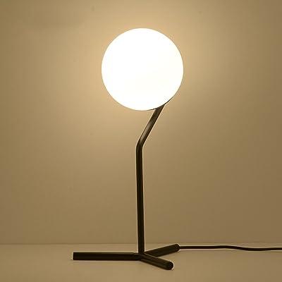 Baoduohui Glass Table lamp, Ball lamp Cover Desk lamp, Bedroom Table lamp, Antique Metal Table lamp, Interface E27 White