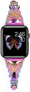 BONICI Smart Watch Band Compatible with Apple Watch 6/SE/5/4/3/2/1 iWatch (42mm 44mm), Girl Women Elegant Butterfly Diamond Design Bracelet Style Thin Alloy Metal Replacement Bands Strap -Colorful
