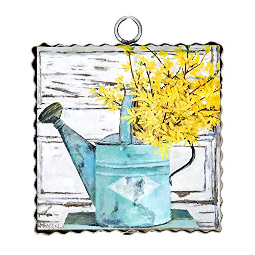 (The Round Top Collection - Gallery Can of Forsythia Wall Art - Metal & Wood )