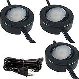DIMMABLE LED PUCK LIGHT - 120V UNDER CABINET LIGHTING - 3 PUCK LIGHT KIT (Black)